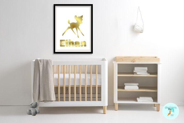 Boys Gold Bambi Name Print Bedroom Decor Personalised Wall Art, Bambi Prints, Gold, A5 A4 A3 by DesignsByDjKidsArt on Etsy