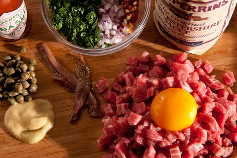 Classic Steak Tartare.      What's a little raw meat and eggs between friends?