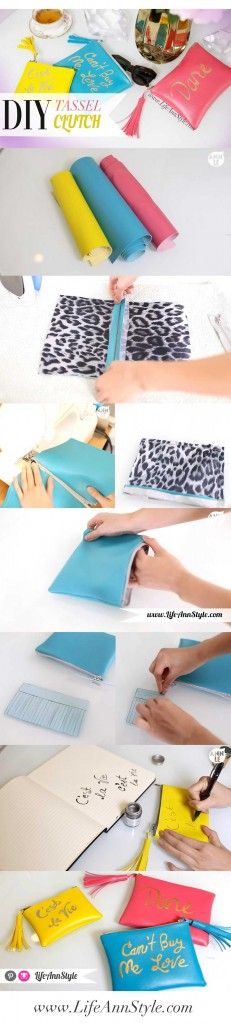 DIY Rebecca Minkoff Tassel Clutch | LifeAnnStyle  Both a sew and no sew tutorial, super cute!  | LifeAnnStyle.com