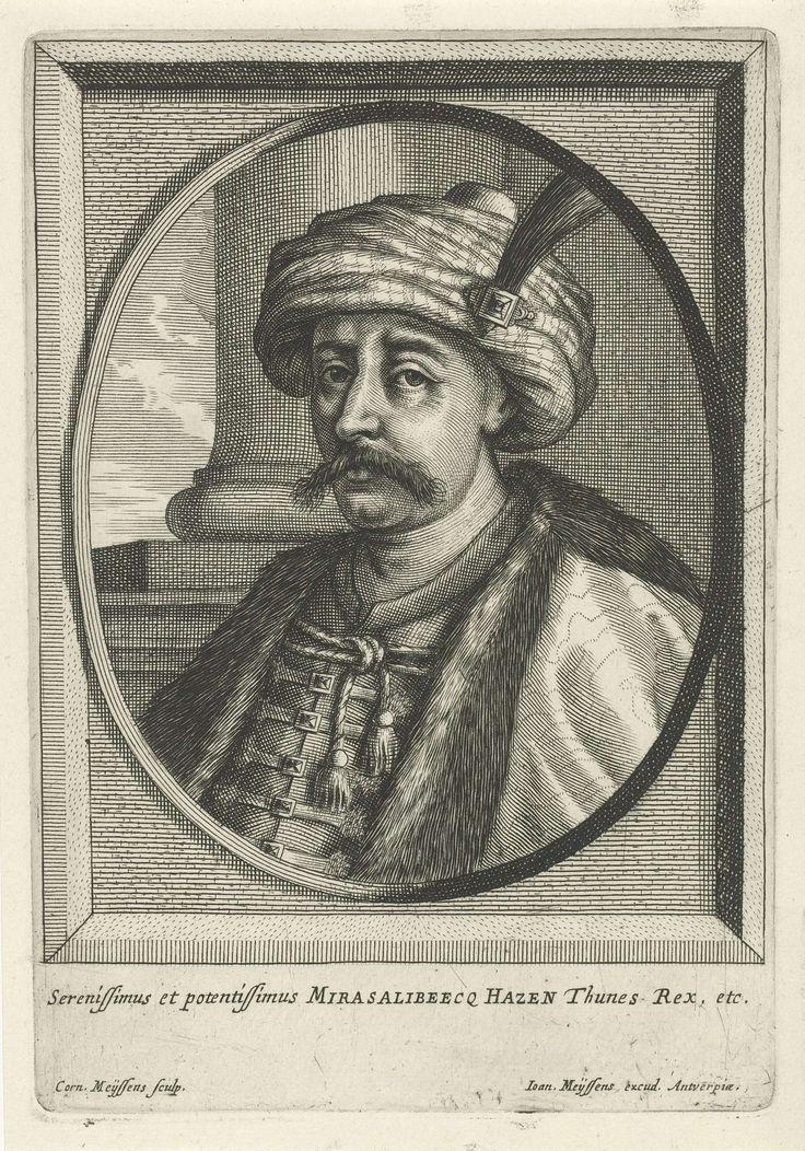 Cornelis Meyssens | Portret van Mirasalibeecq Hazen, Cornelis Meyssens, Joannes Meyssens, 1650 - 1670 | Portret van Mirasalibeecq Hazen met een tulband met veer op het hoofd. Onderaan in de marge zijn titel in het Latijn.