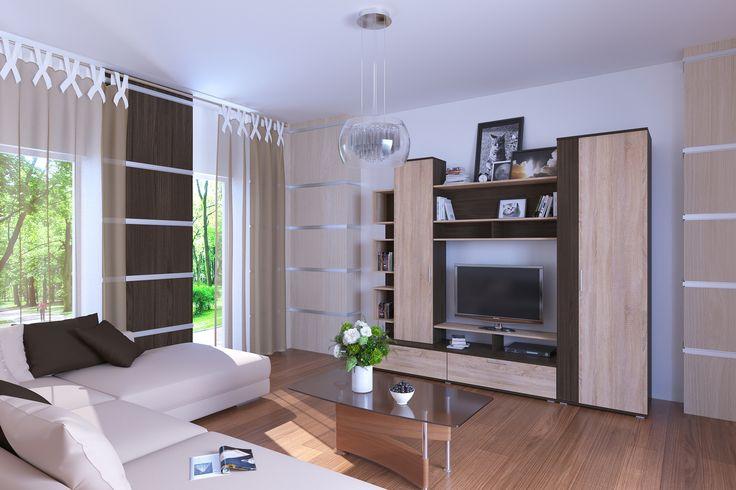 Стенка Рино - оригинальная модульная система, создающая атмосферу гостеприимства и дружелюбия в гостиной комнате. Продуманная до мелочей, создана из качественных экологических материалов. Изящное цветовое решение — сочетание дуба сонома и венге - делают ее универсально подходящей для интерьеров любого стиля. Наличие шкафов для одежды и белья, тумбы под ТВ и удобных ящиков для хранения делает гостиную RINO функциональной и удобной в использовании.