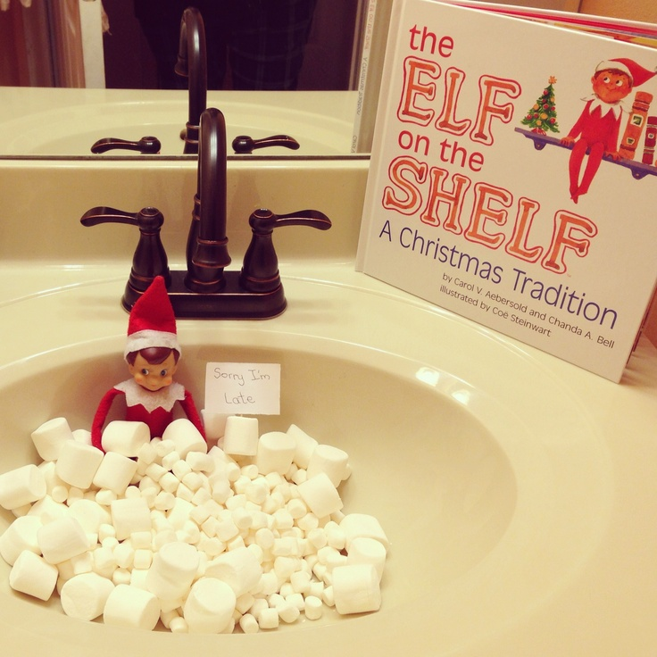 Elf on the shelf day 1 marshmallow bath our elf named for Elf on the shelf bathroom ideas