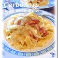 easy carbonara with whole egg and milk. so easy but so good!