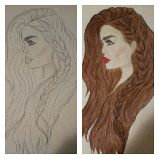 Before and after colour... I think it looked better before 😕 Definitely need to work on colouring skills!