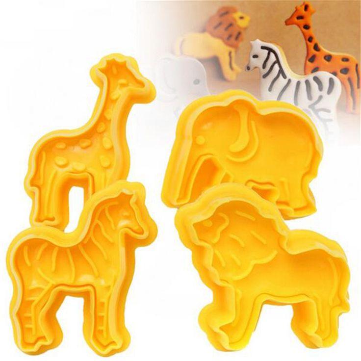 4Pcs/Set Cookie Plunger Cutters Biscuit Fondant Cake Mold 3D Animal Elephant Sugarcraft Decor Kitchen Tool Craft #Affiliate