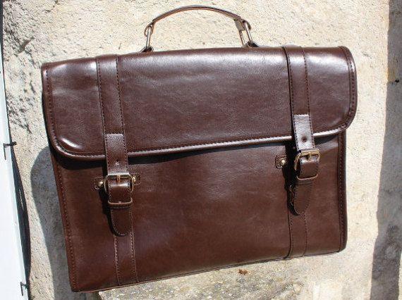 Leather briefcase mens briefcase brown mens messenger