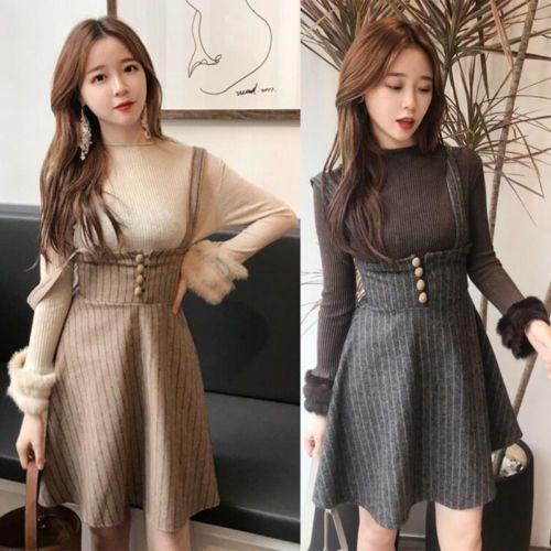 Vogue-Women-Front-Bottons-Strap-A-Line-Suspender-Empire-Waist-Skater-Skirt-Dress