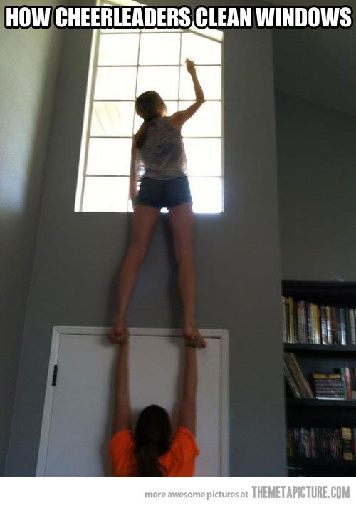 Cheerleaders at work… #Cheerleader #cheer #cheerleading. Wish I had learned to do this! Could come in handy!