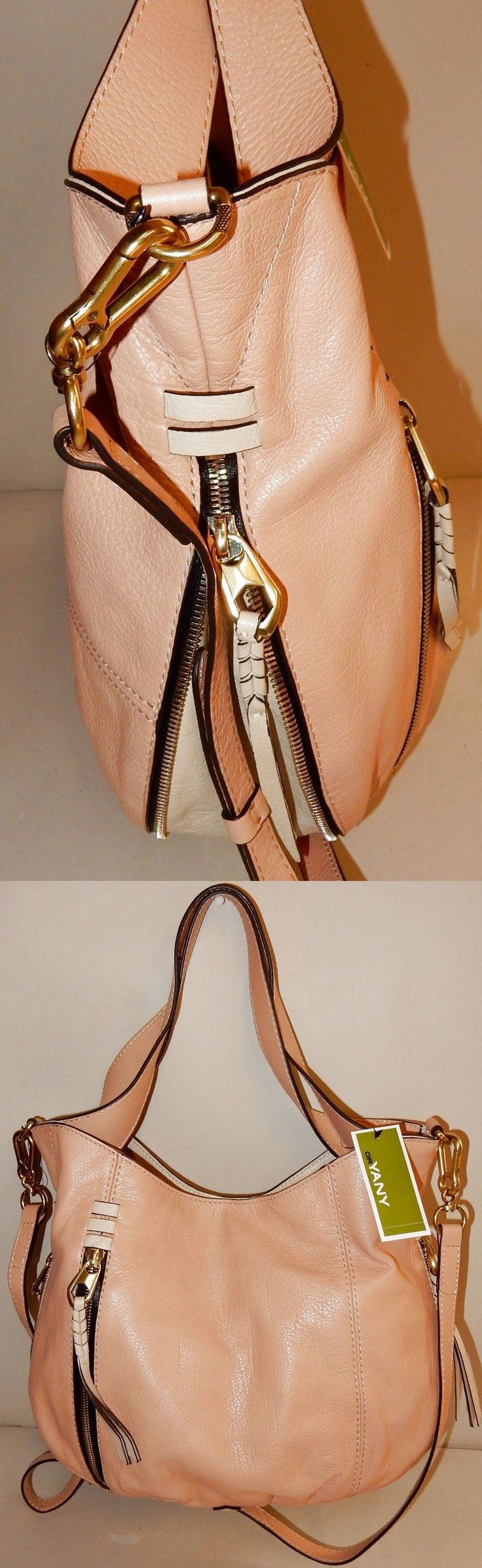New orYANY Italian Leather Convertible Shoulder Bag - Melanie in Almond $139.99
