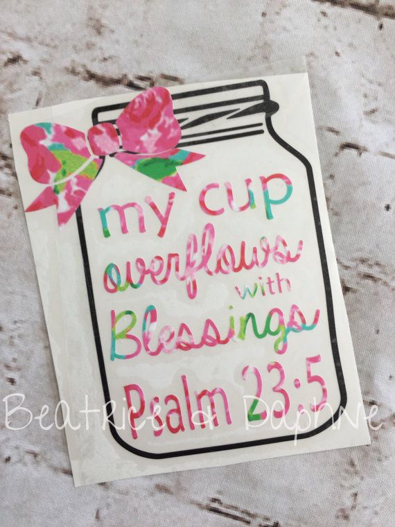 Mason jar blessings decal jar psalm 23 decal by BEATRICEandDAPHNE