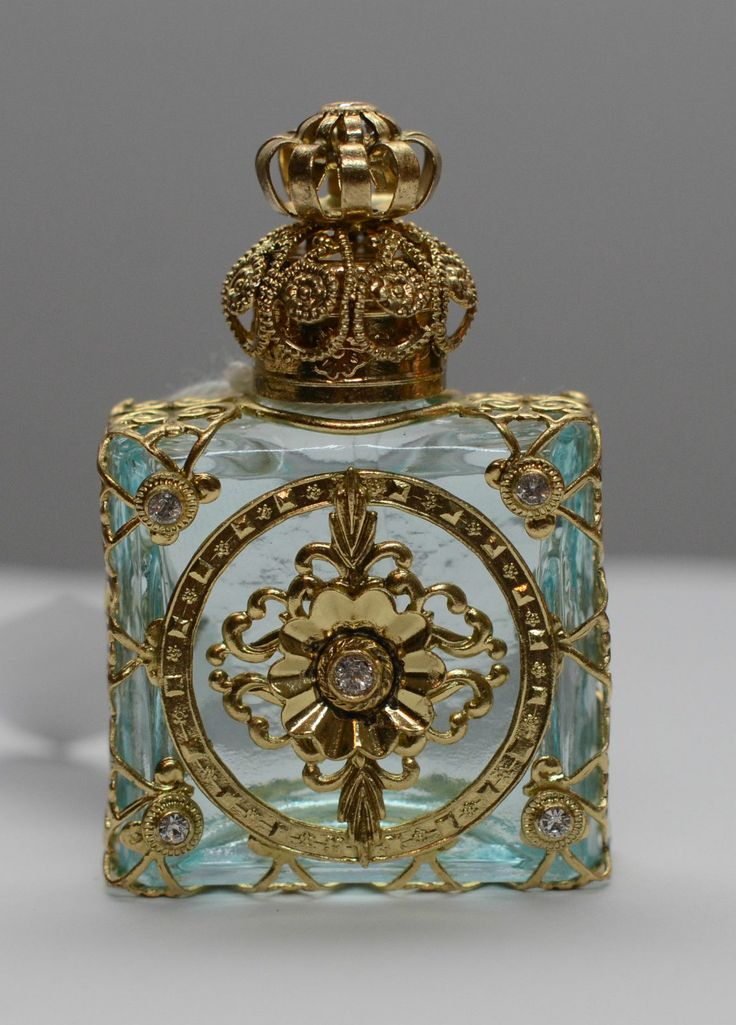 Exclusive Vintage Czech Handmade Perfume Oil Bottle Gold Tone w Faux Diamonds | eBay