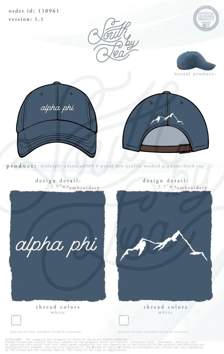 Alpha Phi | Mountain Design | Embroidered Cap | Sorority Accessories | Sorority…