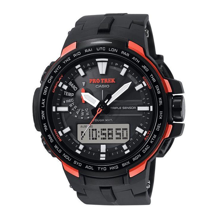 Zegarek Męski Casio Pro Trek PRW-6100Y-1ER pochodzi z unikalnej kolekcji Premium dla aktywnych ludzi. Został wyposażony autorskie rozwiązania Casio - Tough Solar (zasilanie energią słoneczną wraz ze wskaźnikiem naładowania baterii) oraz WaveCeptor (automatyczna synchronizacja z zegarem atomowym). #timetrend #zegarek #zegarki
