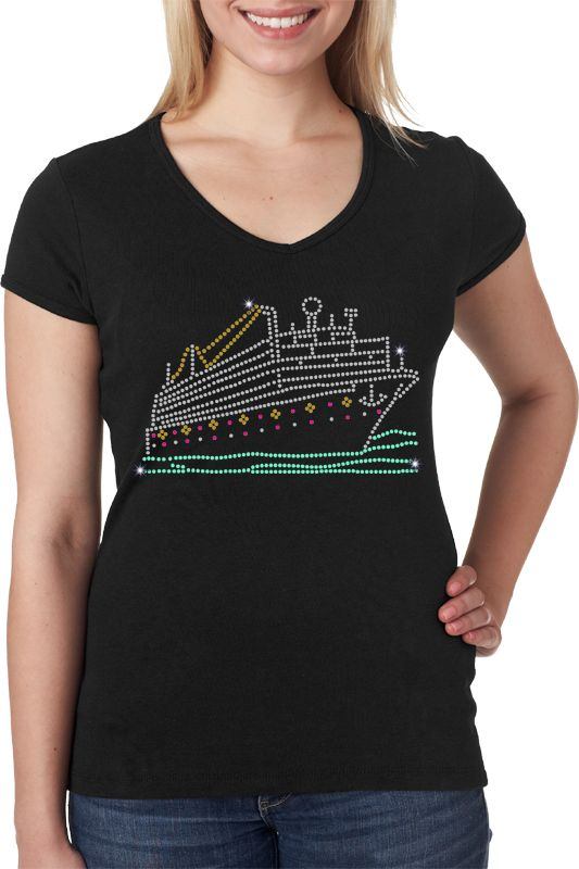 In the mood for a cruise? This rhinestone shirt features an XL sparkling cruise ship design, which will make want to run to the lido deck! This multicolored rhinestone shirt has 765 high quality low lead Korean rhinestones. Click the link below to design your Bling-Bling shirt! $25.95