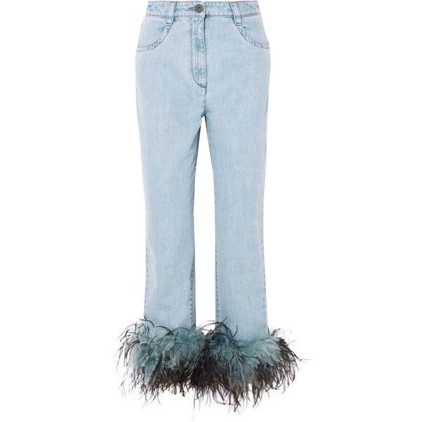 Prada Feather-trimmed boyfriend jeans (€1.215) ❤ liked on Polyvore featuring jeans, mid denim, boyfriend jeans, blue boyfriend jeans, prada jeans, blue jeans and button-fly jeans