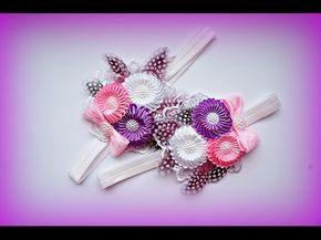 Повязка Цветы Канзаши Мастер-класс / Kanzashi Flowers Band Tutorial, DIY - YouTube