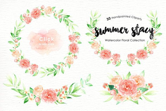 Summer Stacy Watercolor clipart Romantic wedding mint green
