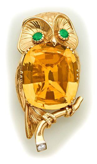 Citrine, emerald, diamond and gold owl brooch.