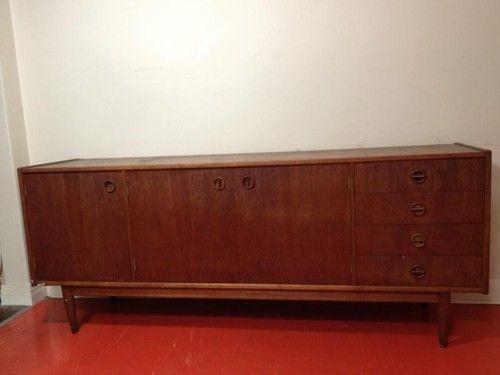 Vintage Retro Parker Furniture 3 Door 4 Drawer Teak Sideboard Buffet Unit - Danish Style