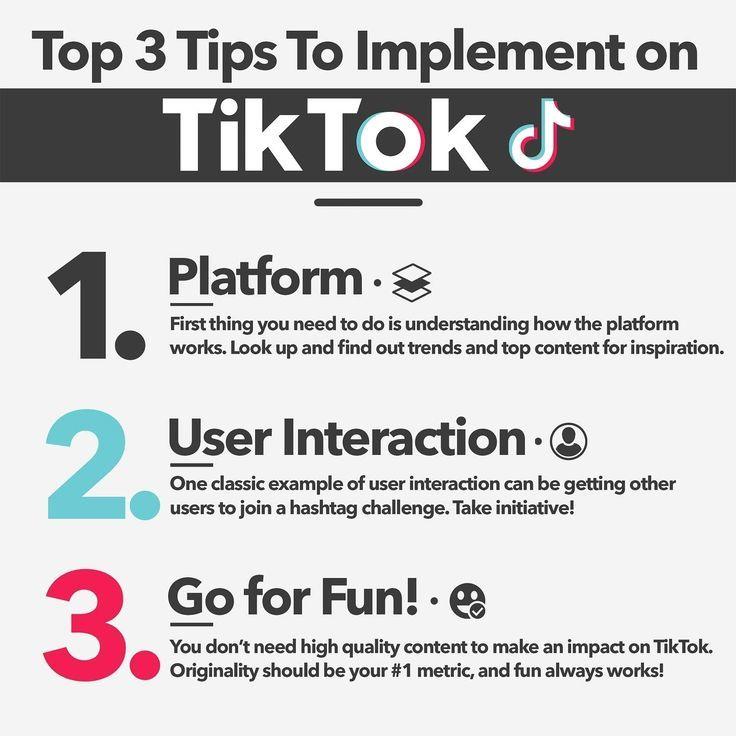 Top 3 Tips To Implement On Tiktok Tips Pinterest Traffic Social Media Strategies