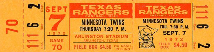 The  Regular Season  ticket for the Texas Rangers game vs the Minnesota Twins on Sep 07, 1972.