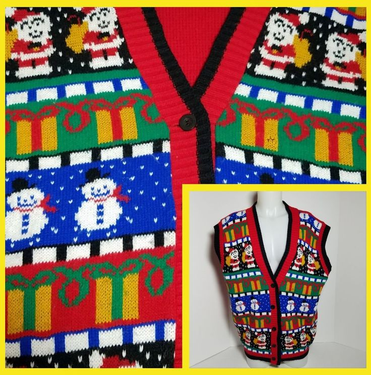 Avon Ugly Christmas Sweater Vest Multi Color Tacky Women Medium Chest 46 | Clothing, Shoes & Accessories, Women's Clothing, Sweaters | eBay!