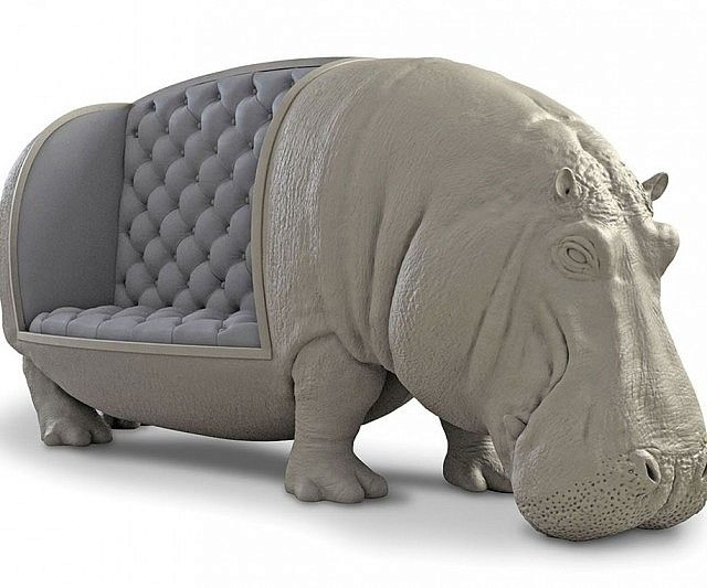 Give your home an exotic touch by bringing in this life size hippopotamus sofa. This massive work of art is handcrafted to depict a full size hippo in stunning detail on one side while offering a comfortable sitting area on the other side.