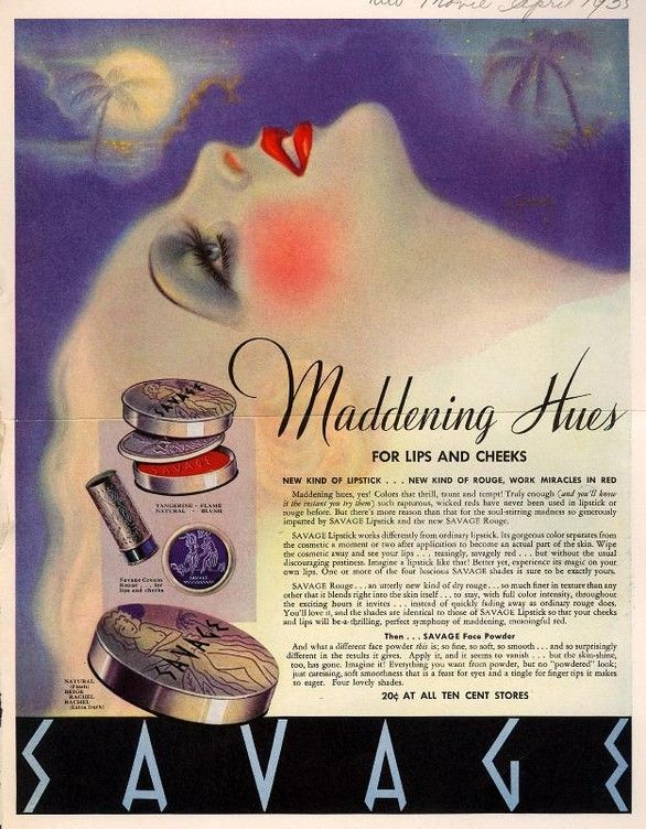 Savage Makeup ad...can't make out the date.  Love the typeface.
