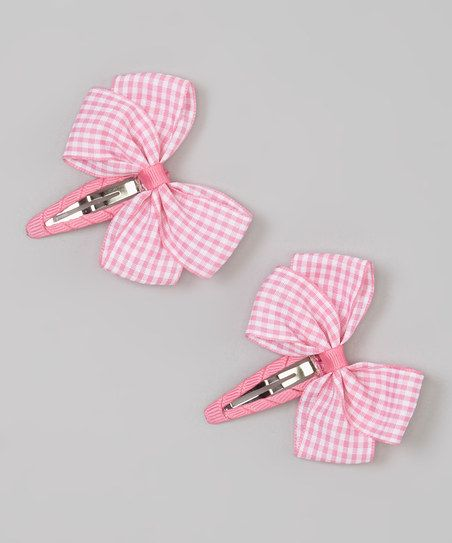 Pink Gingham Hair Clips