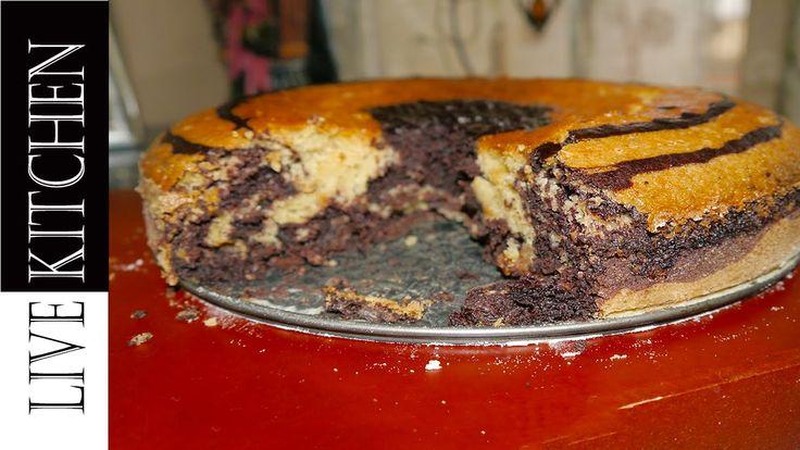 Κέικ Δίχρωμο αφράτο Νηστίσιμο - vegan cake -live kitchen