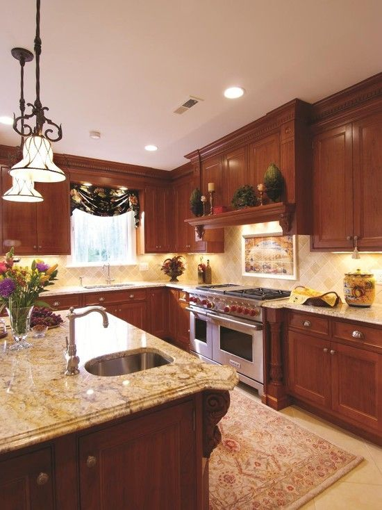 kitchen cherry cabinets design pictures remodel decor
