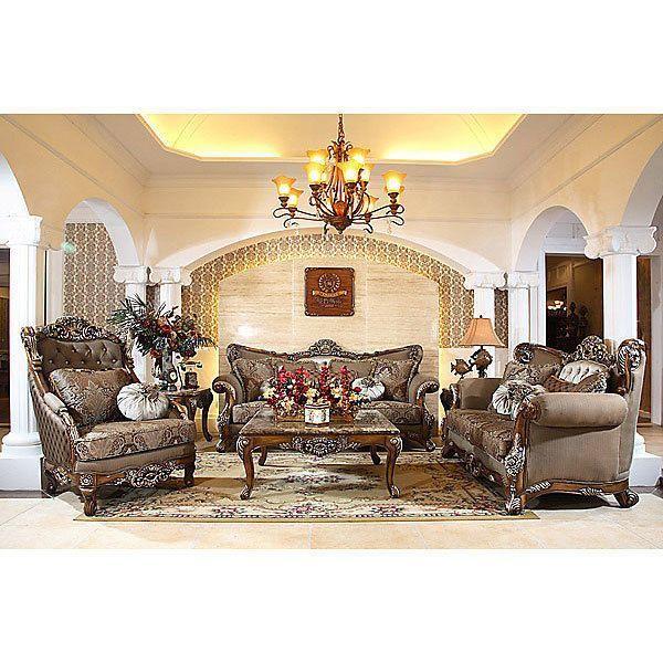 Traditional High End Carved Mahogany Castillian Living Room Sofa Set of 3 Handmade Tradi ...