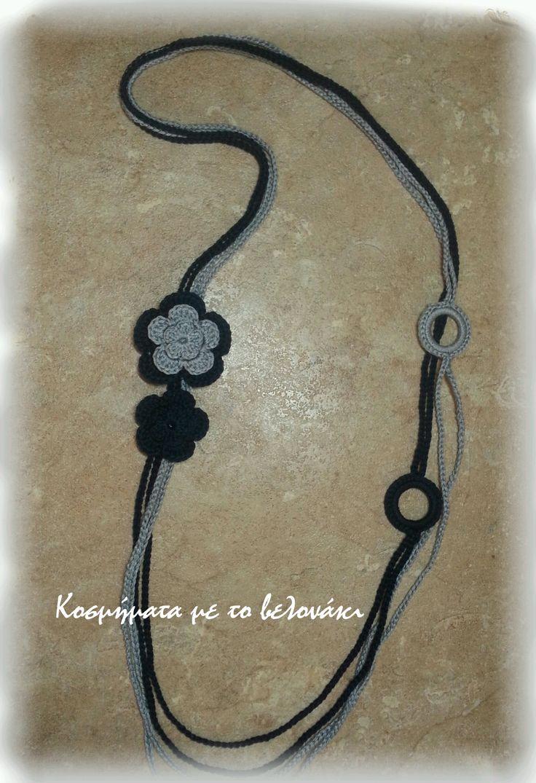 crochet long necklace navy blue & grey