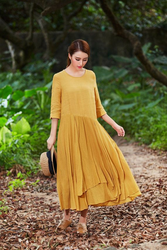 maxi cotton dress in yellow loose fitting dress maxi dress