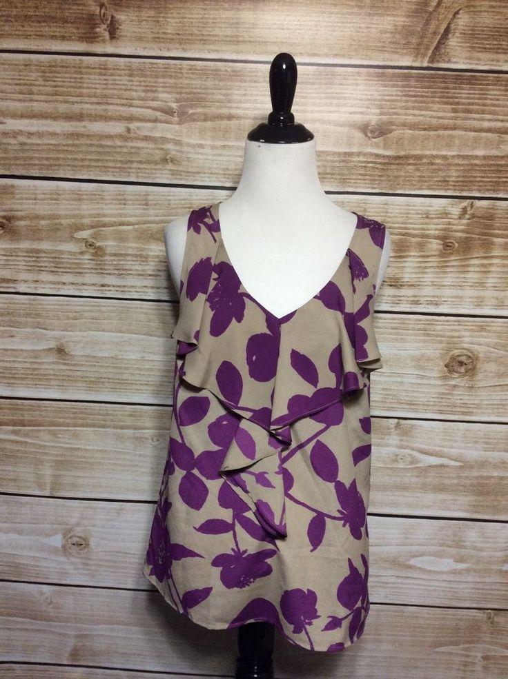Ann Taylor Loft Taupe Purple Floral Ruffled Sleeveless Blouse Small  #AnnTaylorLOFT #Blouse #Career
