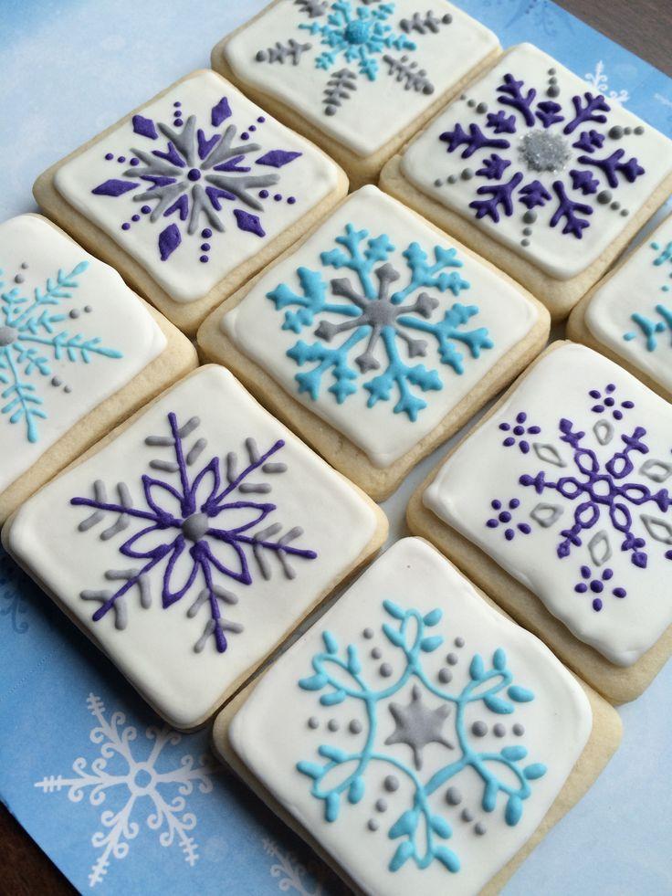 snowflake cookies, decorated sugar cookies