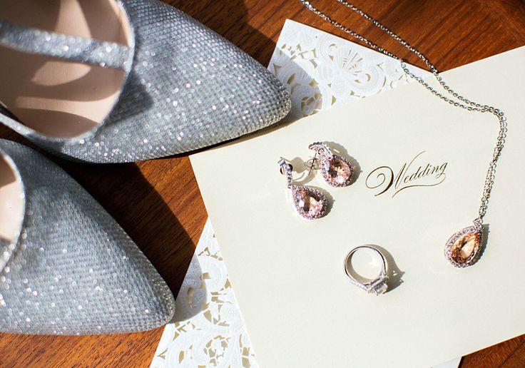 Teardrop shaped pink morganite wedding jewelry set.
