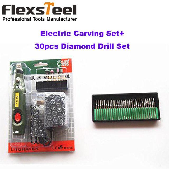 Portable électrique sculpture sur bois outils Set Mini électrique gravure burin stylo + 30 PCS de forage au diamant