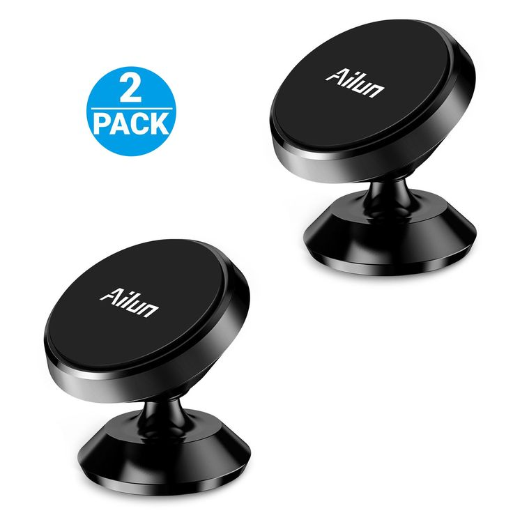 Car Mount Holder, by Aliun, [2Pack] Dashboard Mount, 360°Rotation Magnetic Phone Holder for iPhone/iPod/Samsung/LG/HTC/Nokia Smartphone,GPS,Sticks on Any Flat Surface[Black]