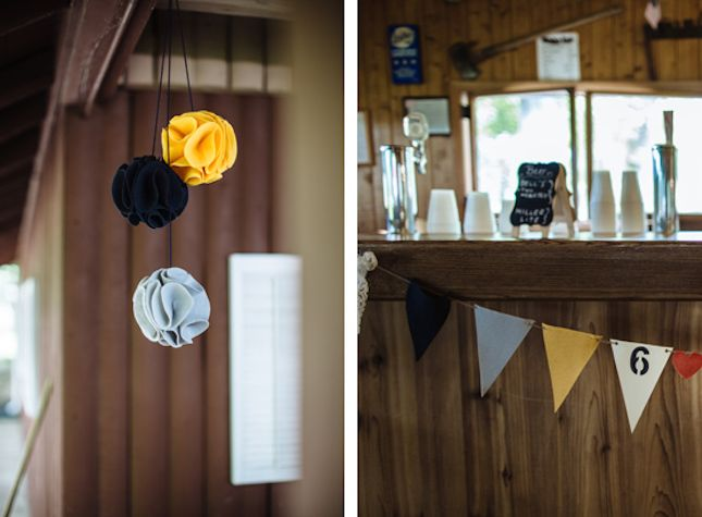 This Rustic Lakeside Wedding Is to DIY for... Adding fun little felt accents indoors to unify the outdoor ceremony