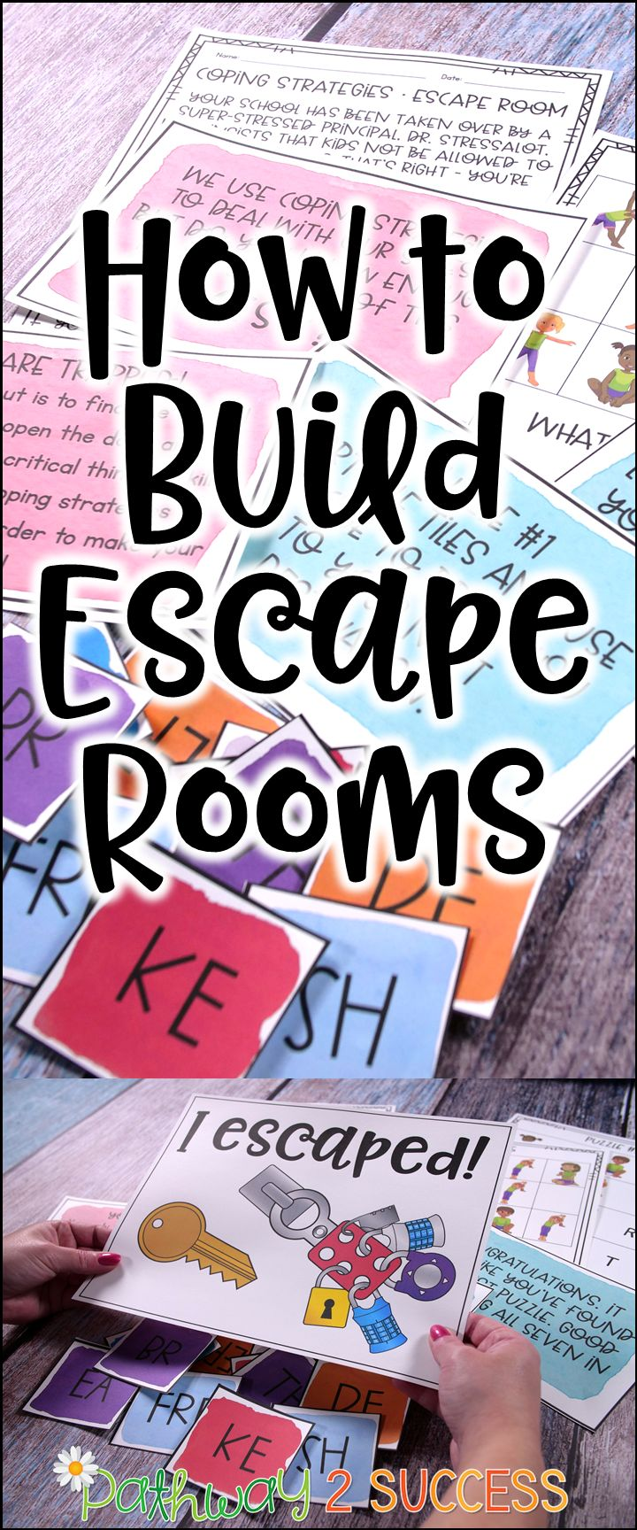 How you can build escape rooms as learning activities for kids and young adults! Did you know you can really teach ANY skills with an escape room? This post shares info on how you can create your own activities and puzzles to help your students learn. #pathway2success #escaperoom