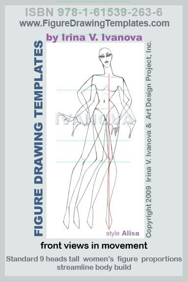 this women's figure drawing template designed for drawing women's body in movement from front view. This template contains multiple positions of legs , arms  and hands so it  could be used for drawing multiple poses with variety of body  movements.