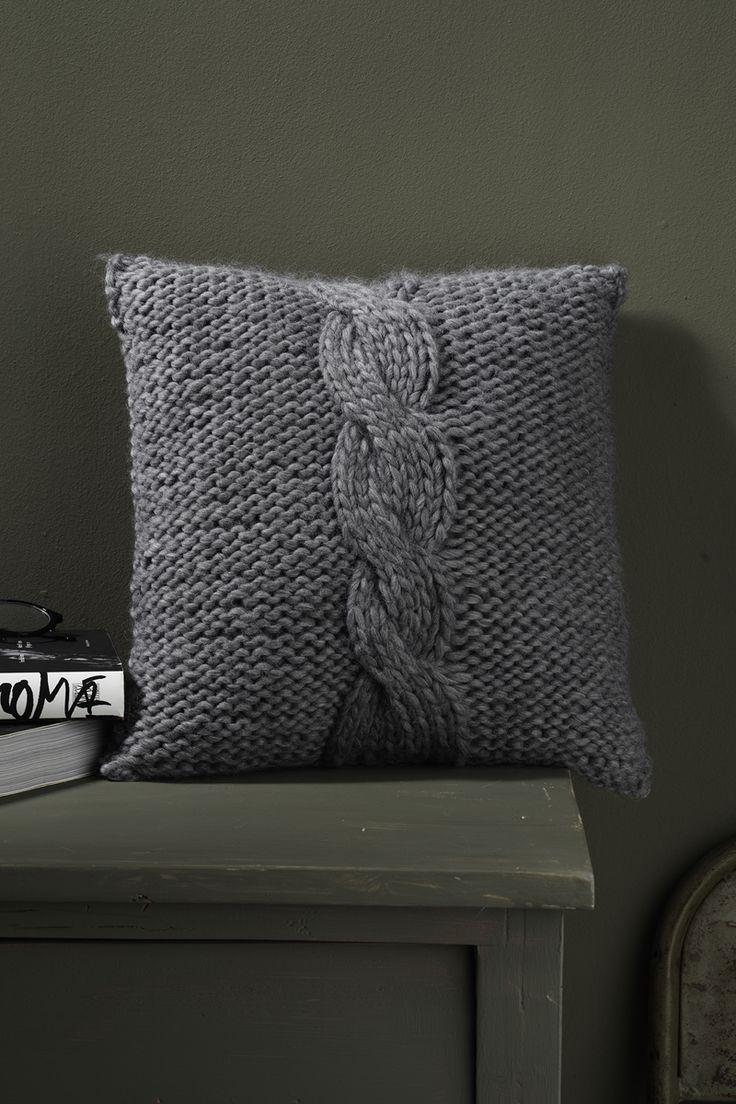 Knitted cushion www.panduro.com Yarn by Panduro #cushion #DIY #pillow #grey #knit #stickad #kudde