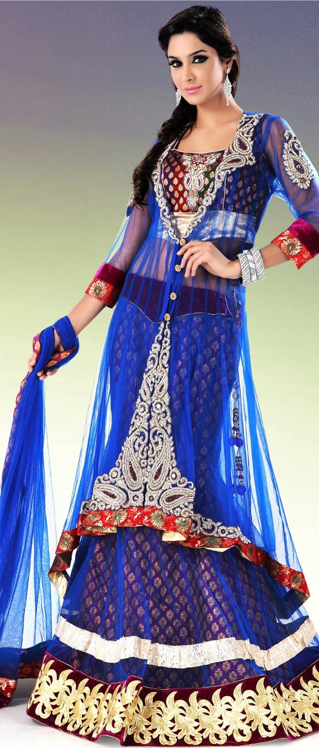 Royal #Blue Flare and #Jacket Style Net #Lehenga Choli With Dupatta @ $613.44