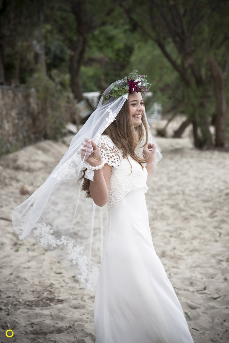 Philia Veil on Kalogria Beach, Mani - Nymphi Design Bridal Accessories - Greece