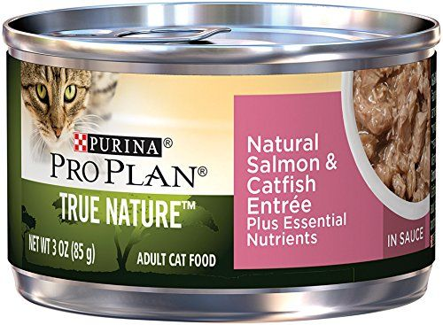 Purina Pro Plan Wet Cat Food, Tue Nature, Natural Salmon & Catfish Entre, 3-Ounce Can, Pack of 24 - Purina Pro Plan True Nature Natural Salmon & Catfish Entree in Sauce Plus Essential Nutrients is designed to give your adult cat high-protein nutrition to feed her natural instincts and help her excel from the inside, out. Made with multiple sources of high-quality protein to help promote an idea...