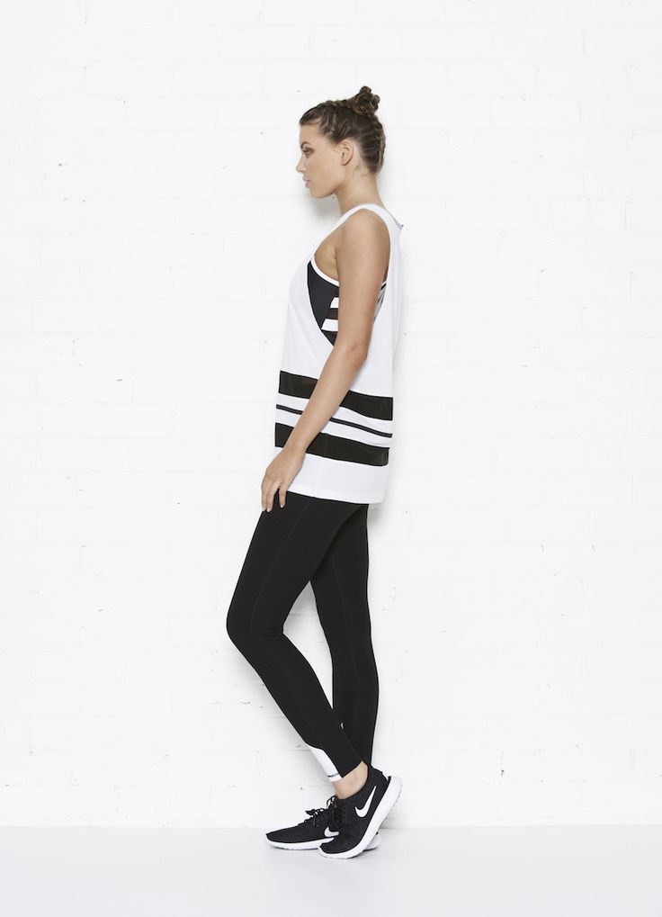 The Abbey tank and Hayley leggings    Side View   Black/white  white/black piping