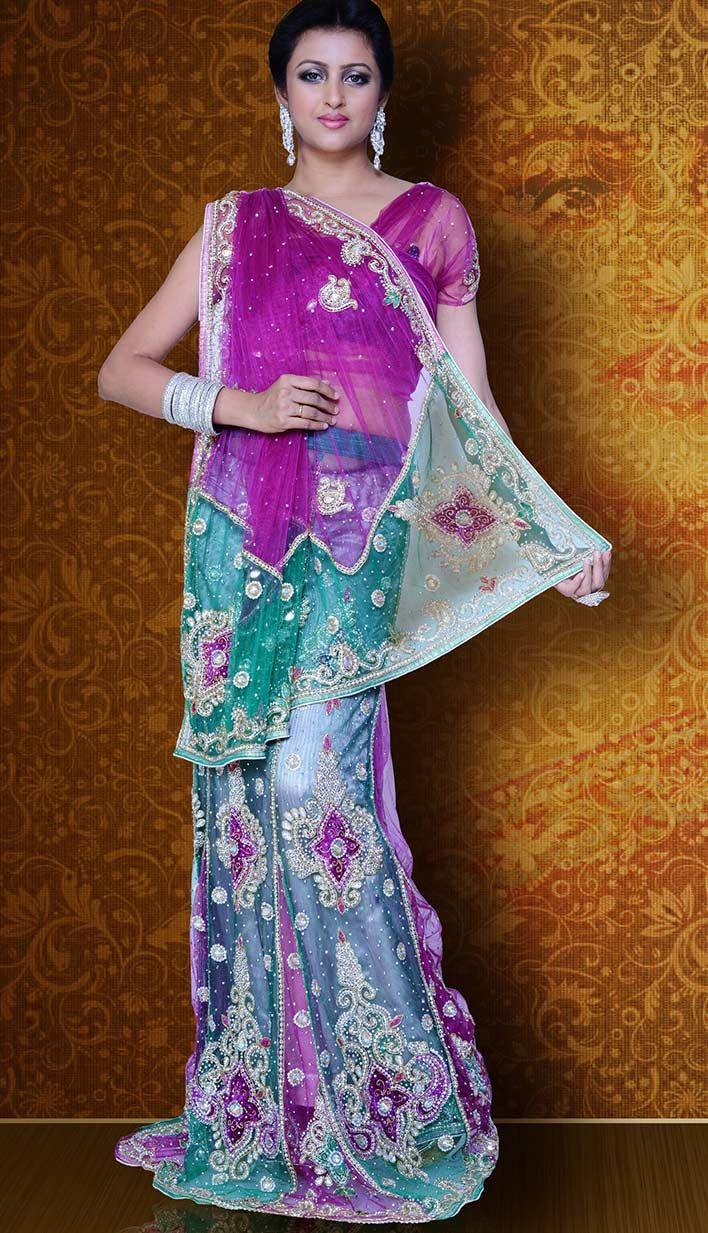 Select the Fashionable Ethnic Rani Green Nett #LehengaSaree Online  #Price INR- 10374 Link- http://alturl.com/4afxc