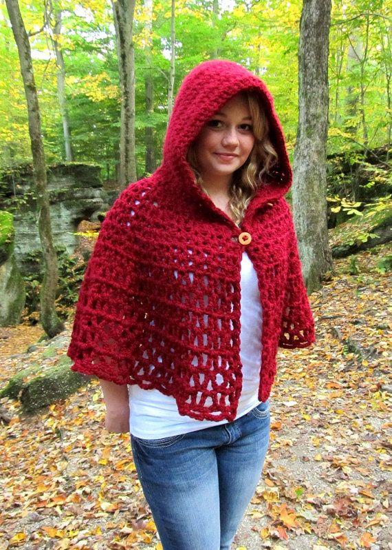 Crochet Pattern Wildwood Capelet Hooded Cape PDF Digital ...