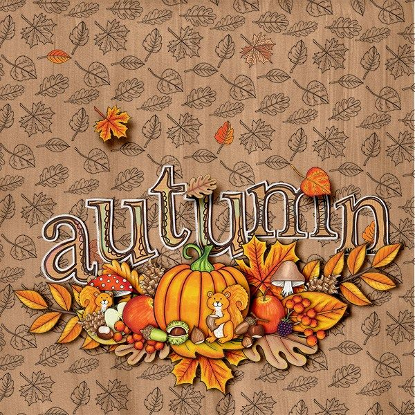 Autumn digital scrapbooking layout created with kits from Kate Hadfield Designs. Ideas for Fall scrapbook pages! Layout by Creative Team member Iva